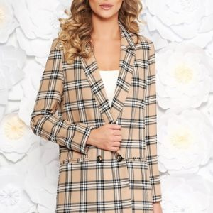 StarShinerS brown office lady set with straight cut from non elastic fabric with inside lining with pockets