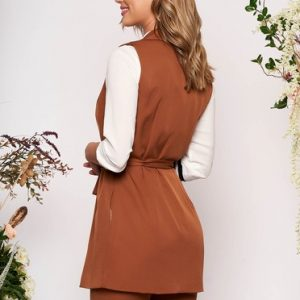 Cappuccino lady set with trousers 2 pieces elegant cloth thin fabric detachable cord