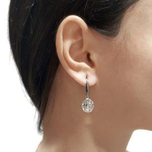 Cercei e-Crystal Argint 925 placat cu rodiu cu cristale Swarovski