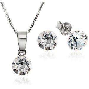 Set e-Crystal Argint 925 placat cu rodiu cu cristale Swarovski