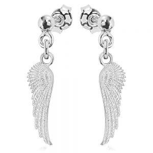 Cercei e-Crystal Argint 925 placat cu rodiu Wing Surub